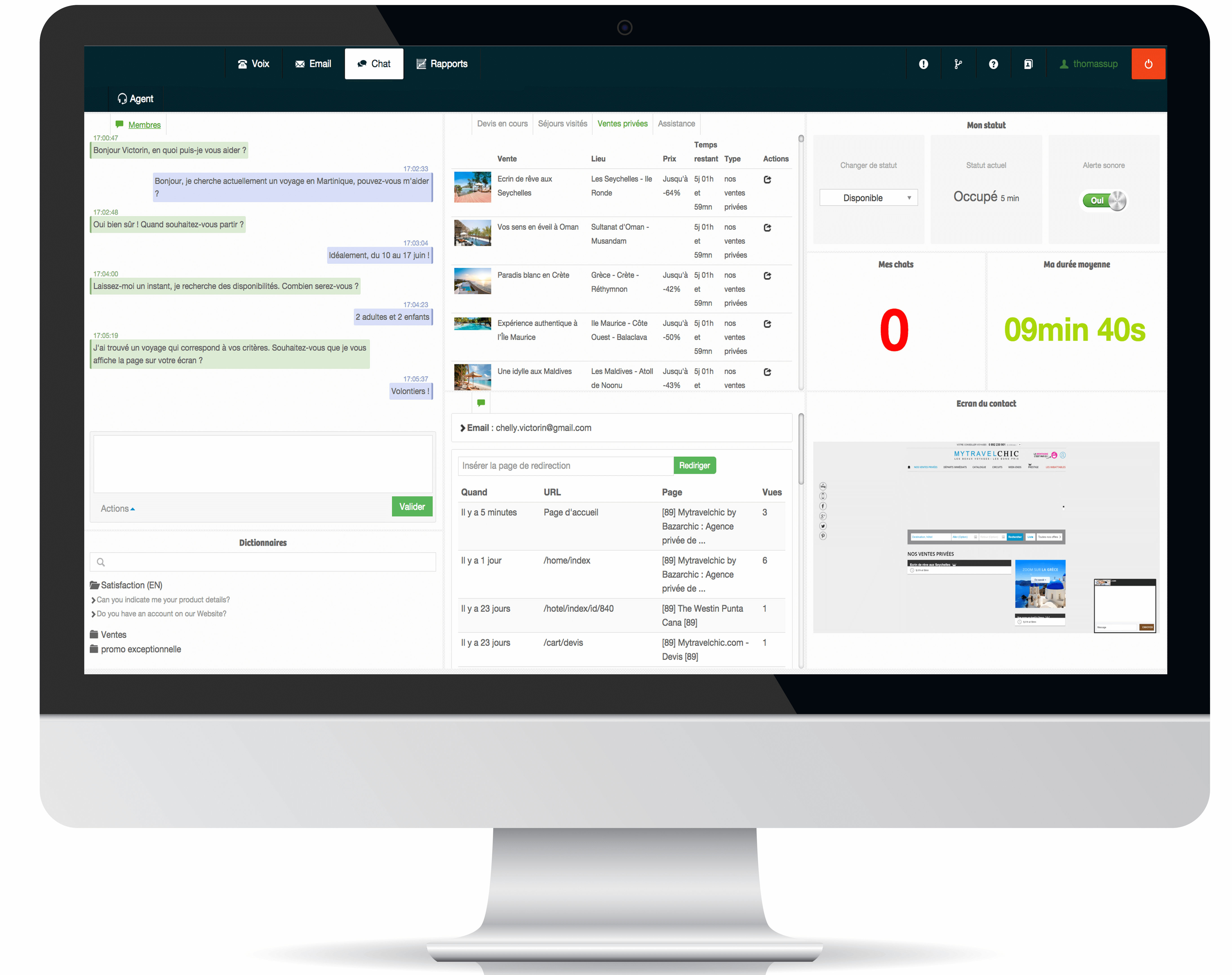 Diabolocom Contact Center Screenshot Chat