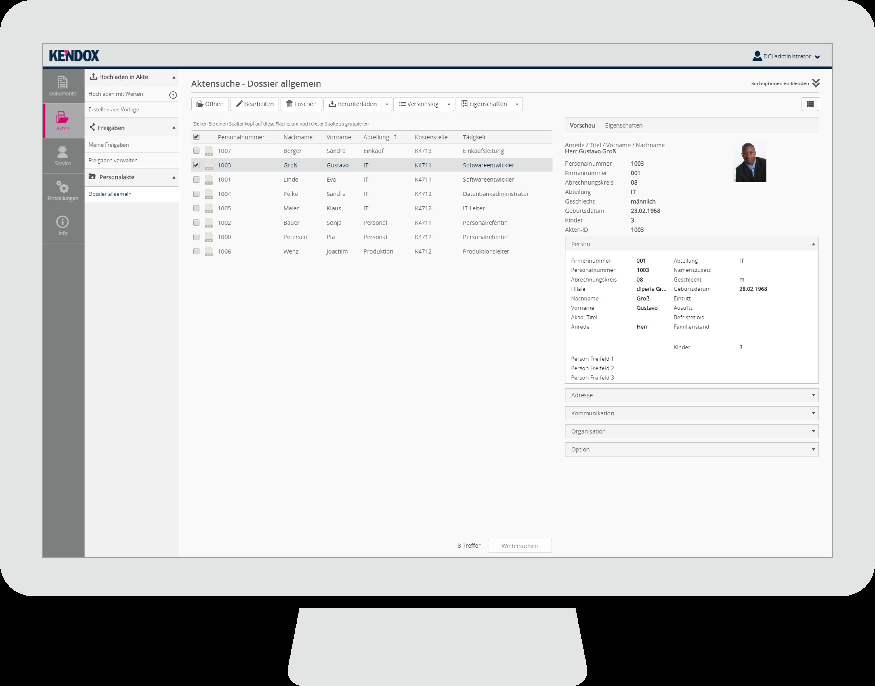 Kendox InfoShare, Aktenübersicht - Dossierübersicht