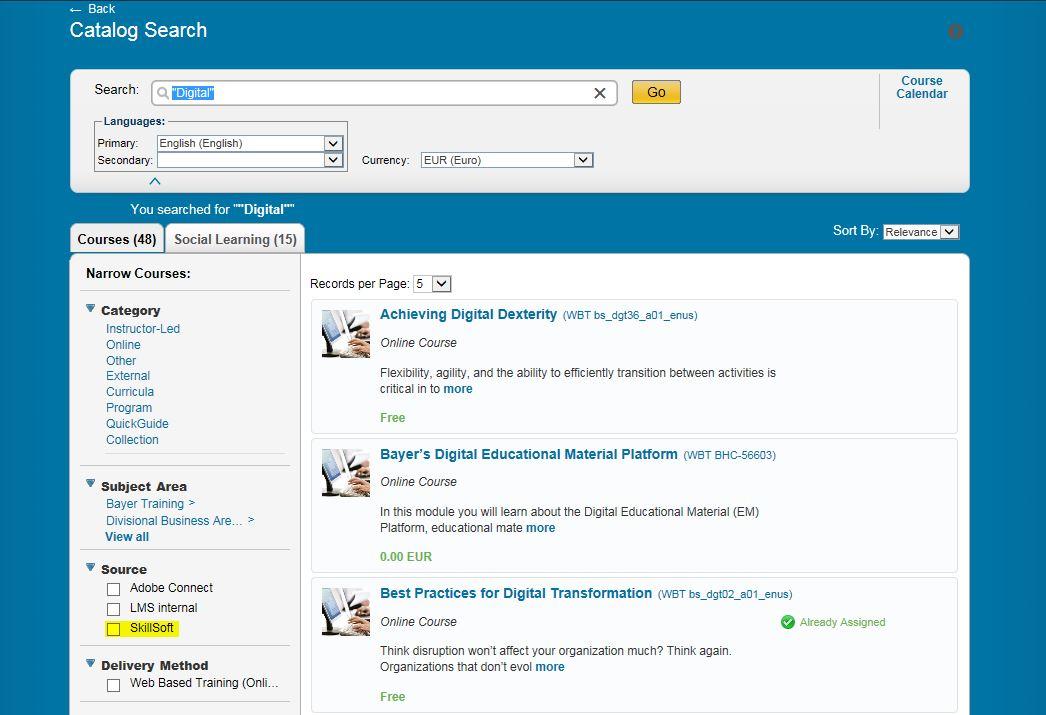 Katalogsuche Skillsoft Integration