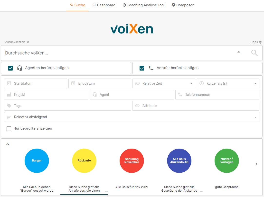Startbildschirm der-Such-Funktion voiXen