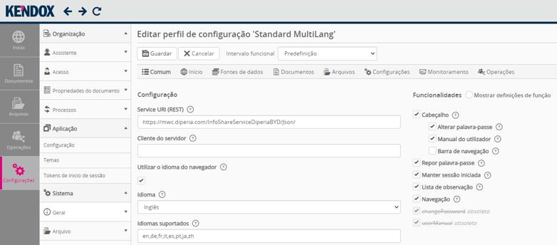 Kendox InfoShare Benutzeroberfläche Portugiesisch