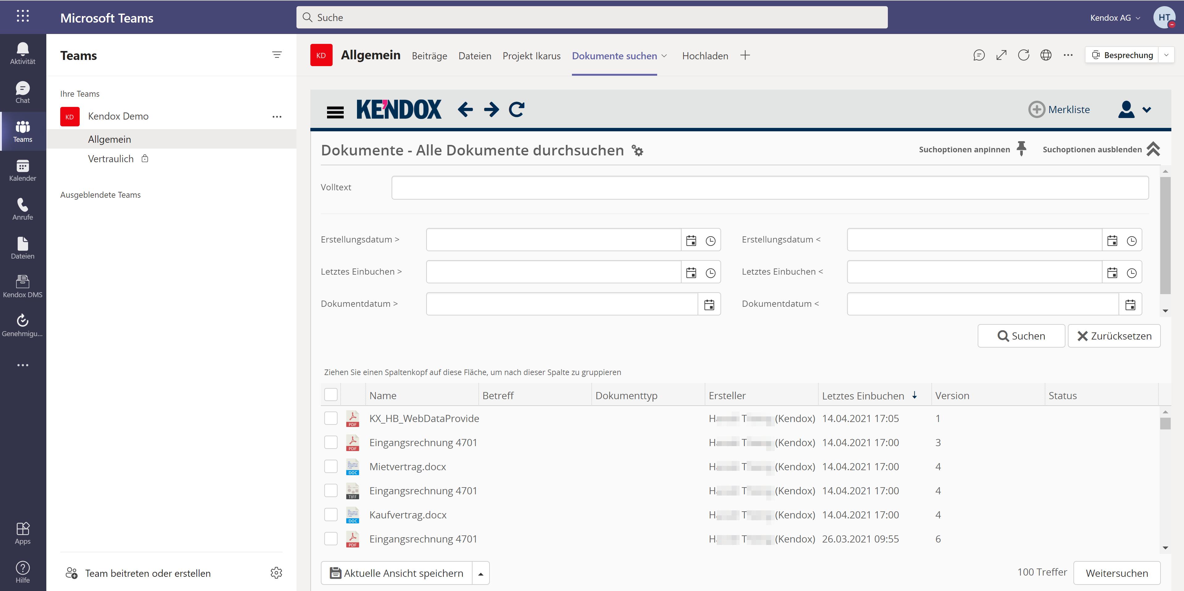 Kendox Dokumentensuche in MS Teams