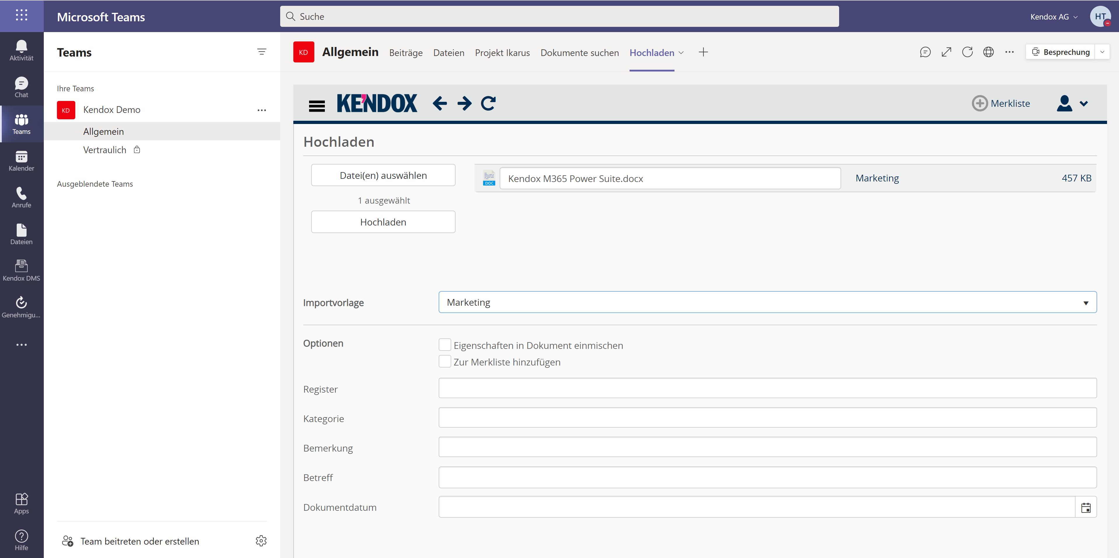 Kendox InfoShare - Dokument hochladen in MS Teams